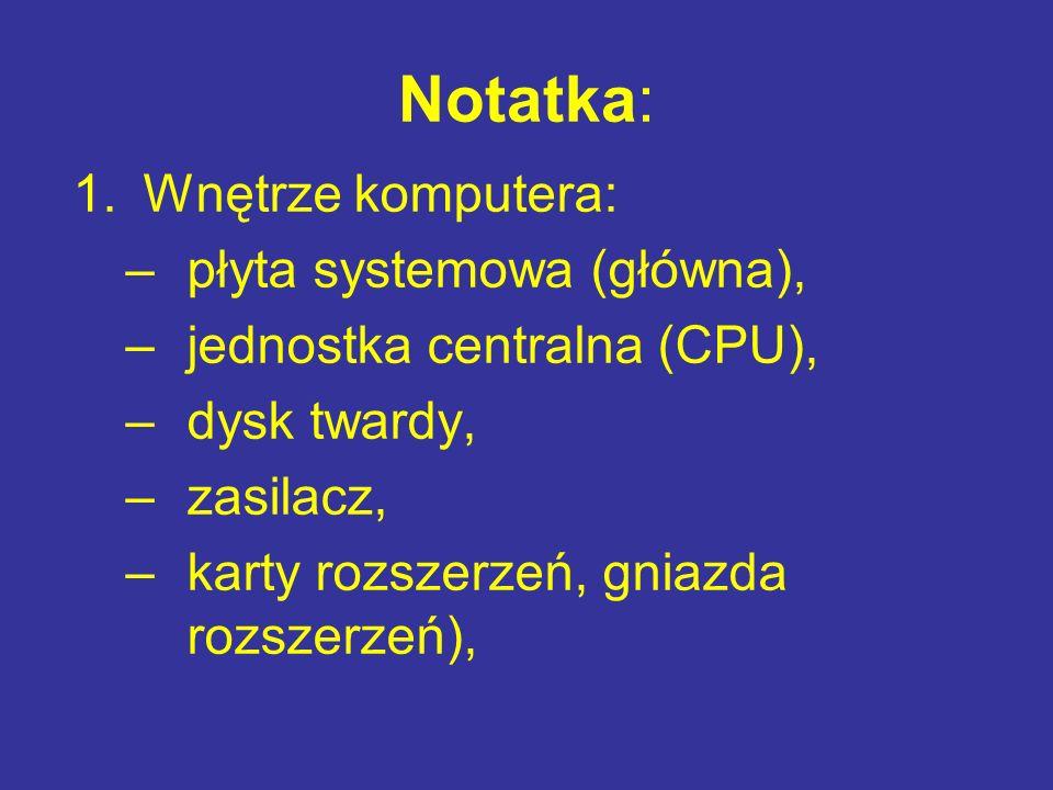 Notatka: 1.Wnętrze komputera: –płyta systemowa (główna), –jednostka centralna (CPU), –dysk twardy, –zasilacz, –karty rozszerzeń, gniazda rozszerzeń),