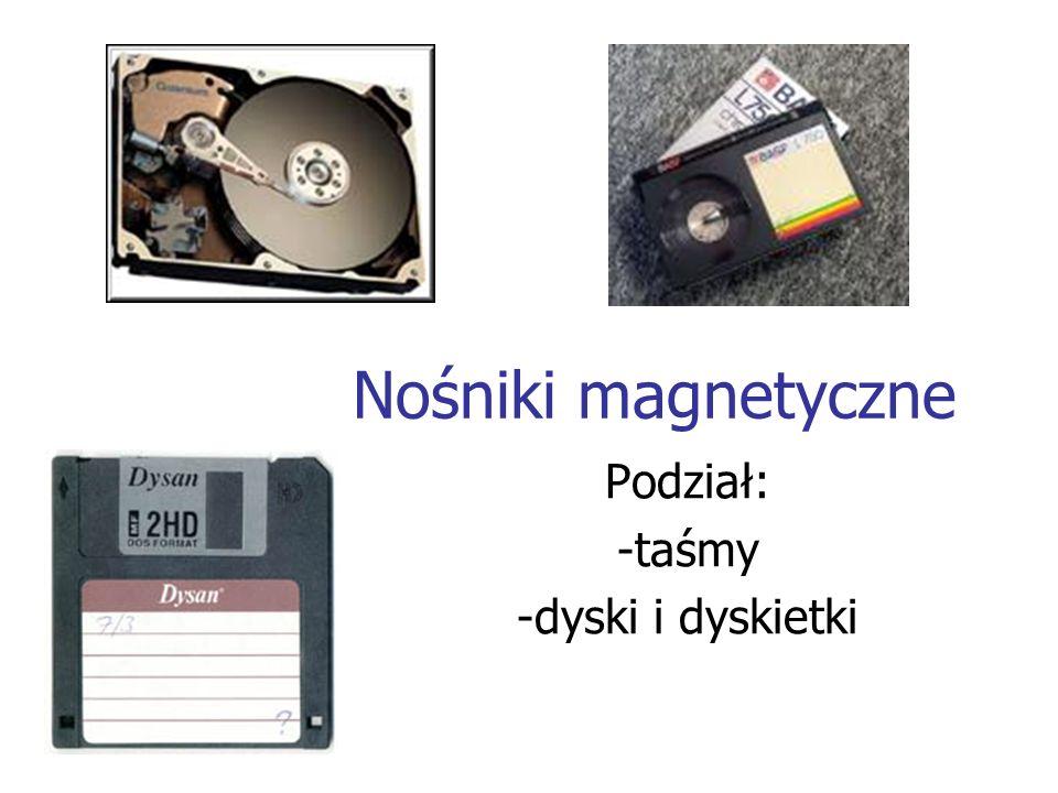 Nośniki magnetyczne Podział: -taśmy -dyski i dyskietki