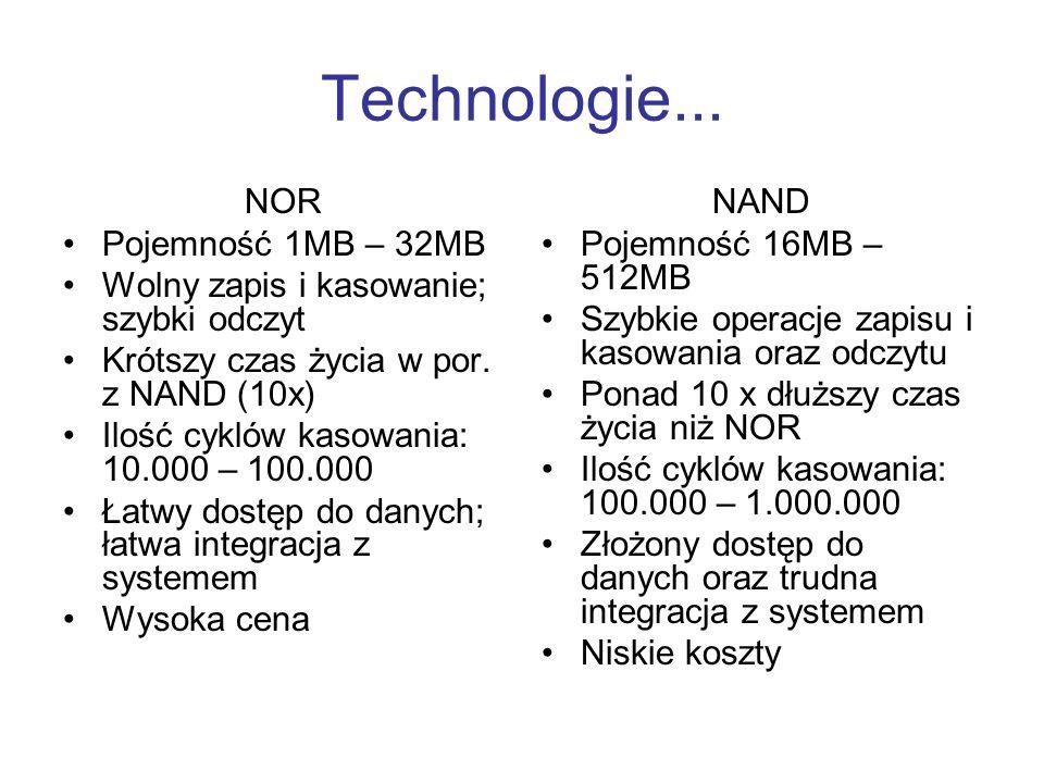 Technologie... NOR Pojemność 1MB – 32MB Wolny zapis i kasowanie; szybki odczyt Krótszy czas życia w por. z NAND (10x) Ilość cyklów kasowania: 10.000 –