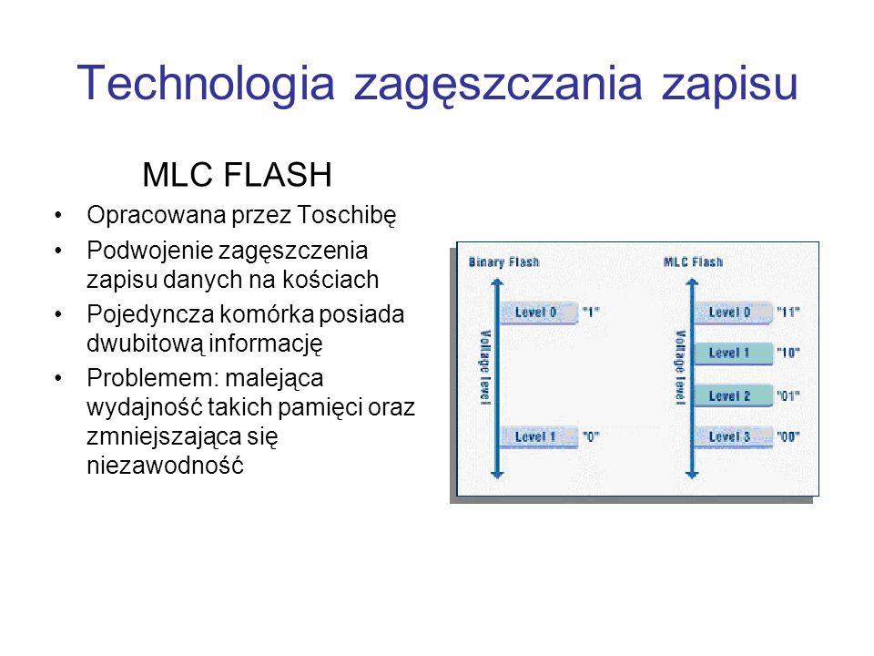 Technologia zagęszczania zapisu MLC FLASH Opracowana przez Toschibę Podwojenie zagęszczenia zapisu danych na kościach Pojedyncza komórka posiada dwubi