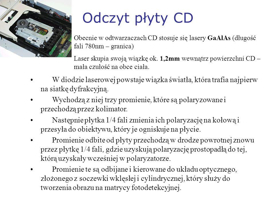Odczyt płyty CD Obecnie w odtwarzaczach CD stosuje się lasery GaAlAs (długość fali 780nm – granica) Laser skupia swoją wiązkę ok. 1,2mm wewnątrz powie