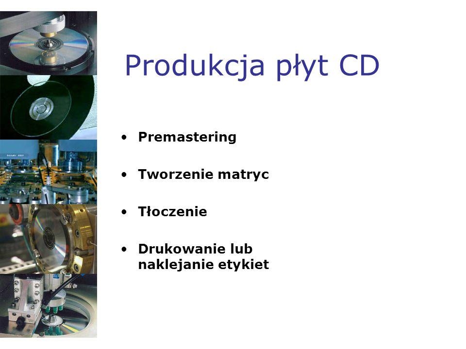 Produkcja płyt CD Premastering Tworzenie matryc Tłoczenie Drukowanie lub naklejanie etykiet