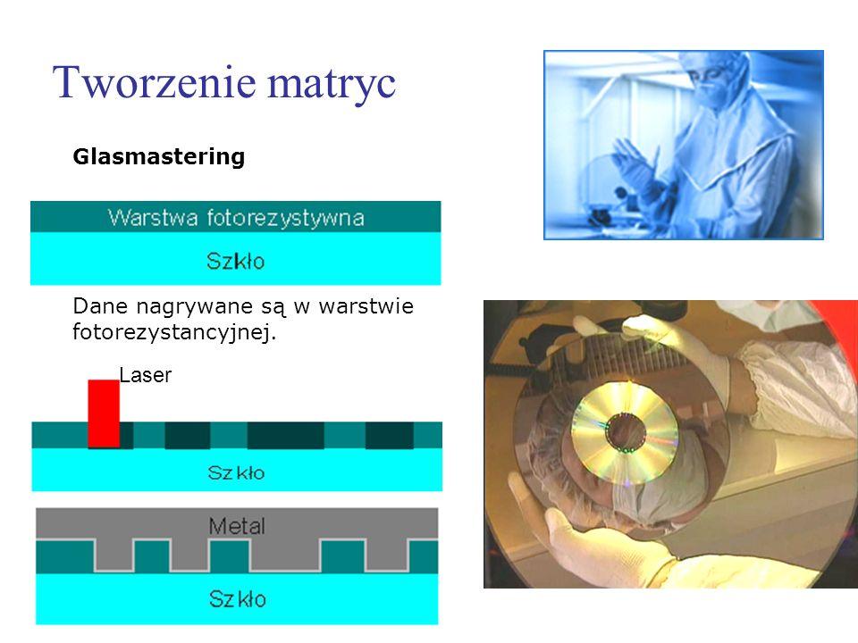 Tworzenie matryc Laser Glasmastering Dane nagrywane są w warstwie fotorezystancyjnej.