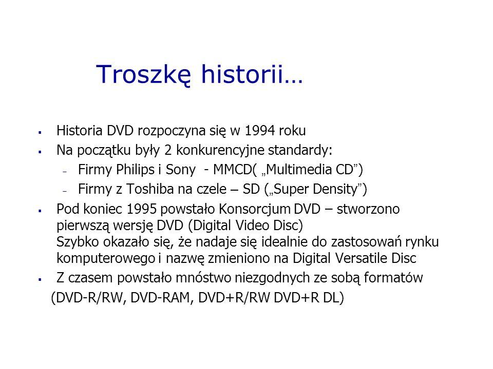Troszkę historii… Historia DVD rozpoczyna się w 1994 roku Na początku były 2 konkurencyjne standardy: Firmy Philips i Sony - MMCD( Multimedia CD ) Fir