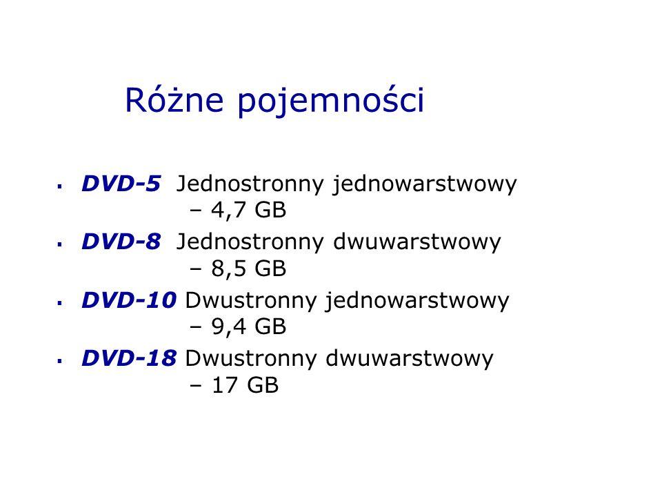 Różne pojemności DVD-5 Jednostronny jednowarstwowy – 4,7 GB DVD-8 Jednostronny dwuwarstwowy – 8,5 GB DVD-10 Dwustronny jednowarstwowy – 9,4 GB DVD-18