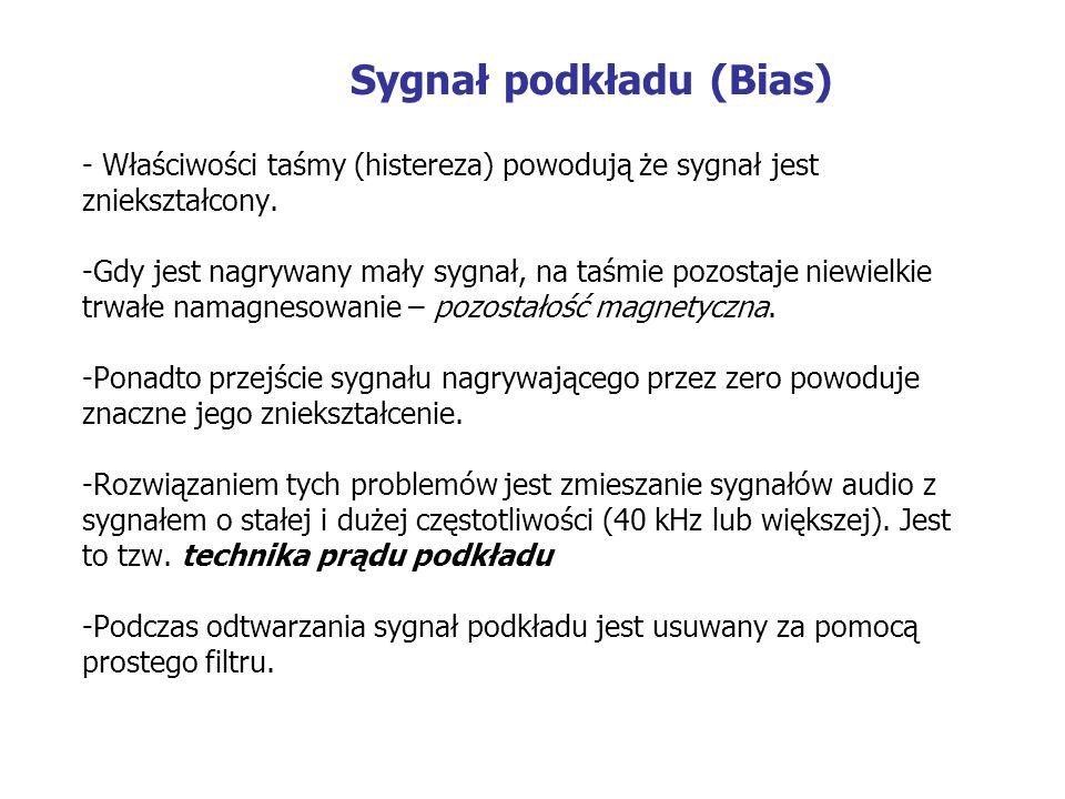 Sygnał podkładu (Bias) - Właściwości taśmy (histereza) powodują że sygnał jest zniekształcony. -Gdy jest nagrywany mały sygnał, na taśmie pozostaje ni