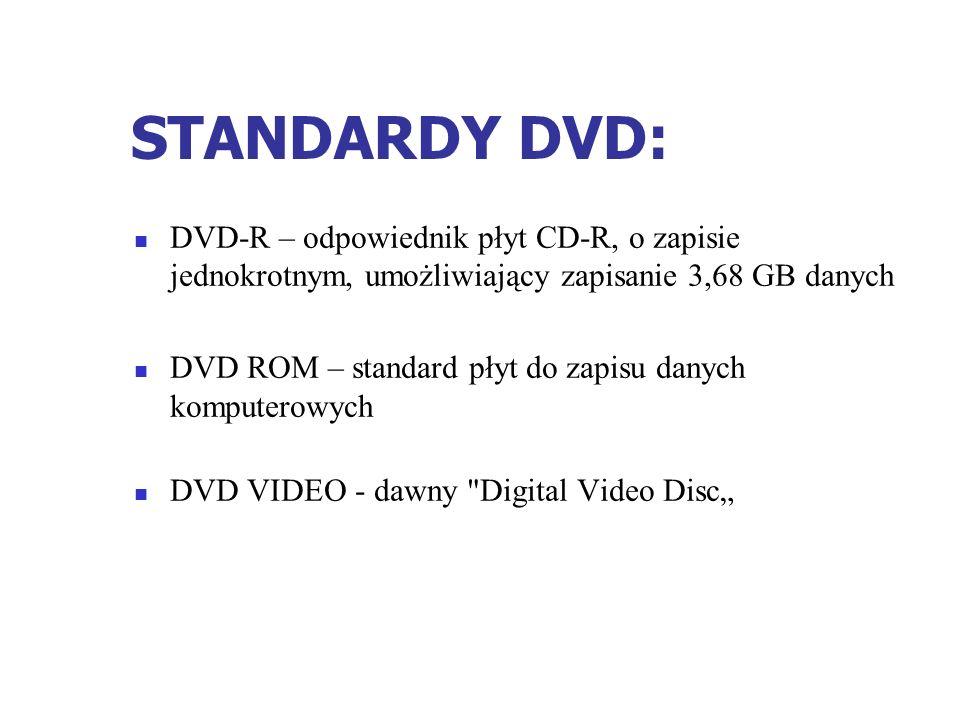 STANDARDY DVD: DVD-R – odpowiednik płyt CD-R, o zapisie jednokrotnym, umożliwiający zapisanie 3,68 GB danych DVD ROM – standard płyt do zapisu danych