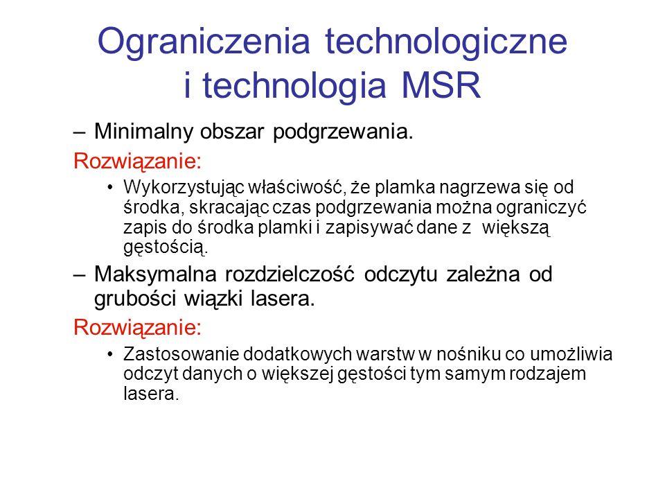 Ograniczenia technologiczne i technologia MSR –Minimalny obszar podgrzewania. Rozwiązanie: Wykorzystując właściwość, że plamka nagrzewa się od środka,
