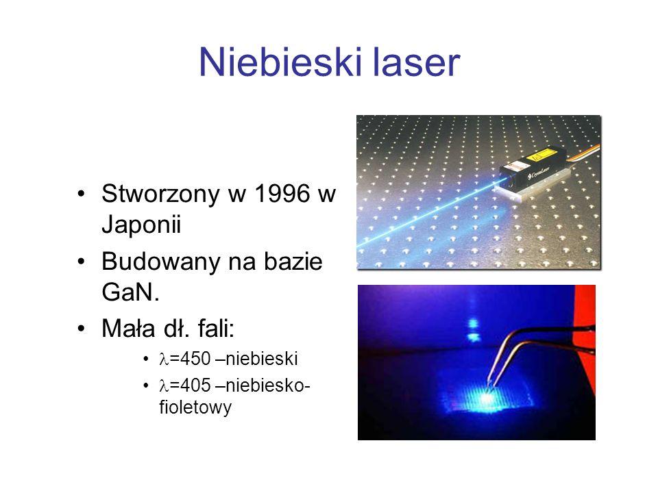 Niebieski laser Stworzony w 1996 w Japonii Budowany na bazie GaN. Mała dł. fali: =450 –niebieski =405 –niebiesko- fioletowy