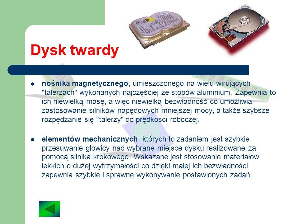 Dysk twardy Dysk twardy, jak wiadomo, służy do przechowywania w komputerze danych. Składa się z następujących części: obudowy, której zadaniem jest oc