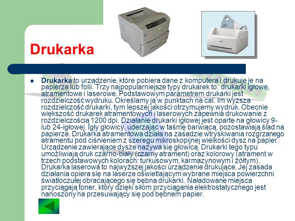 Monitor Monitor to podstawowe urządzenie, za pomocą którego otrzymujemy informacje z komputera. Jest on połączony z kartą graficzną. Każdy monitor moż