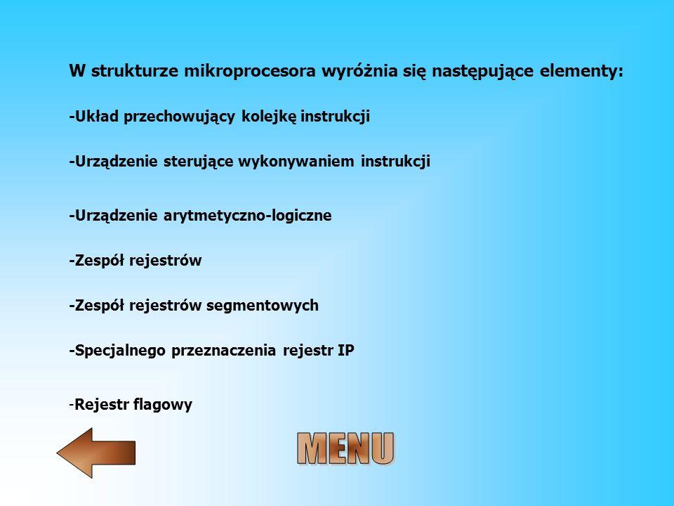 W strukturze mikroprocesora wyróżnia się następujące elementy: -Układ przechowujący kolejkę instrukcji -Urządzenie sterujące wykonywaniem instrukcji -