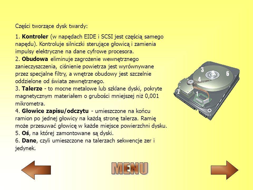 1. Kontroler (w napędach EIDE i SCSI jest częścią samego napędu). Kontroluje silniczki sterujące głowicą i zamienia impulsy elektryczne na dane cyfrow