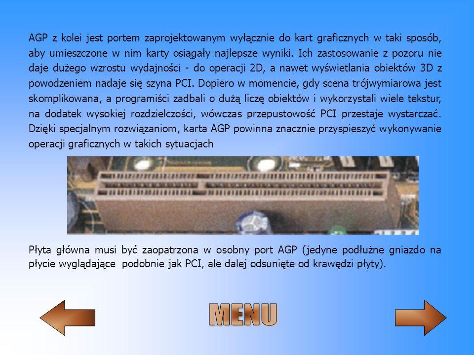AGP z kolei jest portem zaprojektowanym wyłącznie do kart graficznych w taki sposób, aby umieszczone w nim karty osiągały najlepsze wyniki. Ich zastos