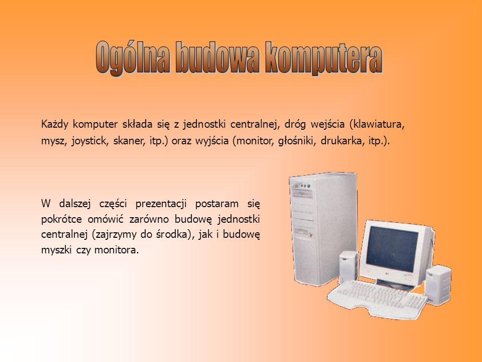 Każdy komputer składa się z jednostki centralnej, dróg wejścia (klawiatura, mysz, joystick, skaner, itp.) oraz wyjścia (monitor, głośniki, drukarka, i