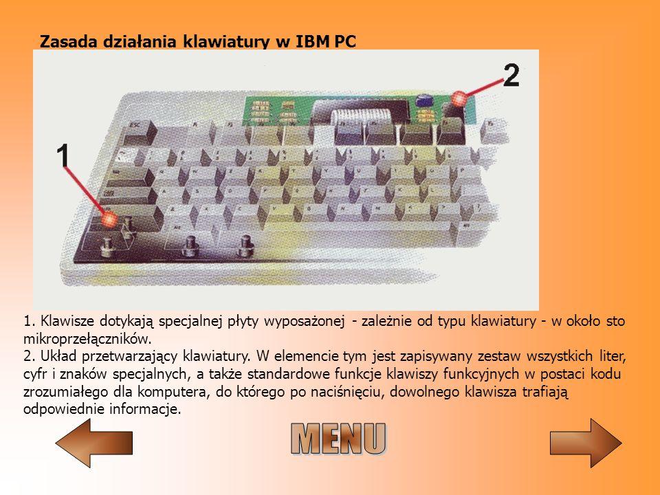 Zasada działania klawiatury w IBM PC 1. Klawisze dotykają specjalnej płyty wyposażonej - zależnie od typu klawiatury - w około sto mikroprzełączników.