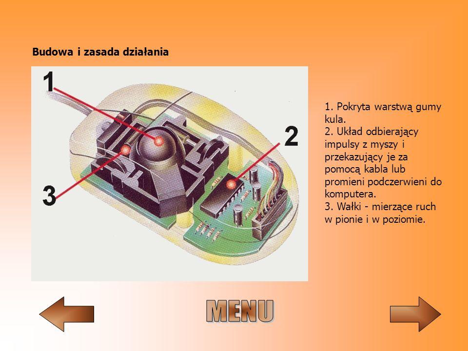 Budowa i zasada działania 1. Pokryta warstwą gumy kula. 2. Układ odbierający impulsy z myszy i przekazujący je za pomocą kabla lub promieni podczerwie