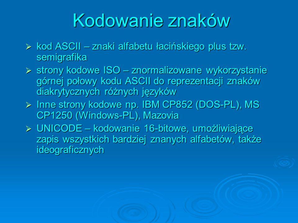 Kodowanie znaków kod ASCII – znaki alfabetu łacińskiego plus tzw. semigrafika kod ASCII – znaki alfabetu łacińskiego plus tzw. semigrafika strony kodo