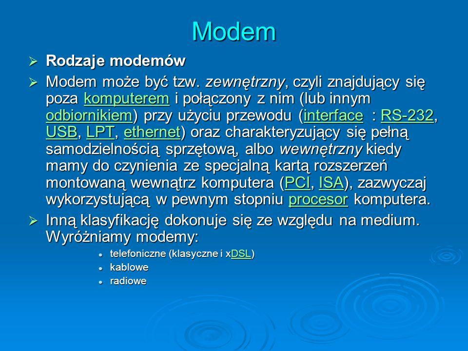 Modem Rodzaje modemów Rodzaje modemów Modem może być tzw. zewnętrzny, czyli znajdujący się poza komputerem i połączony z nim (lub innym odbiornikiem)