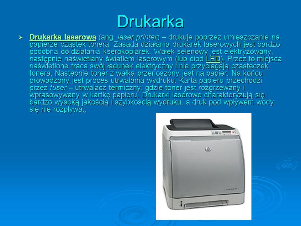 Drukarka Drukarka laserowa (ang. laser printer) – drukuje poprzez umieszczanie na papierze cząstek tonera. Zasada działania drukarek laserowych jest b