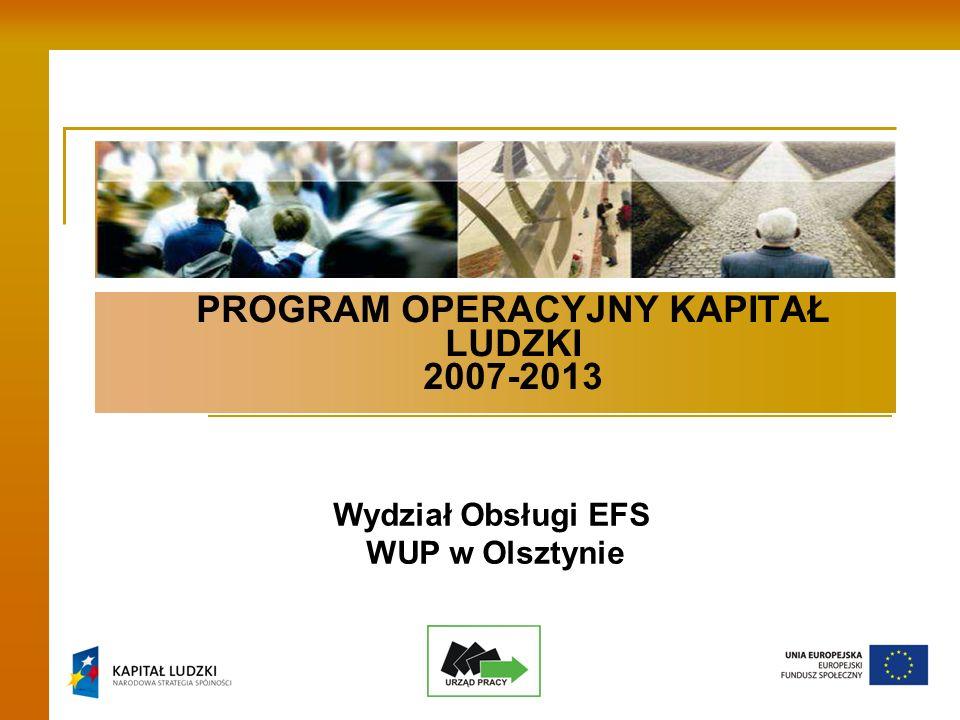 PROGRAM OPERACYJNY KAPITAŁ LUDZKI 2007-2013 Wydział Obsługi EFS WUP w Olsztynie
