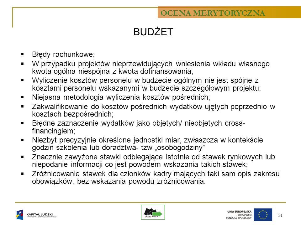 11 BUDŻET Błędy rachunkowe; W przypadku projektów nieprzewidujących wniesienia wkładu własnego kwota ogólna niespójna z kwotą dofinansowania; Wyliczen
