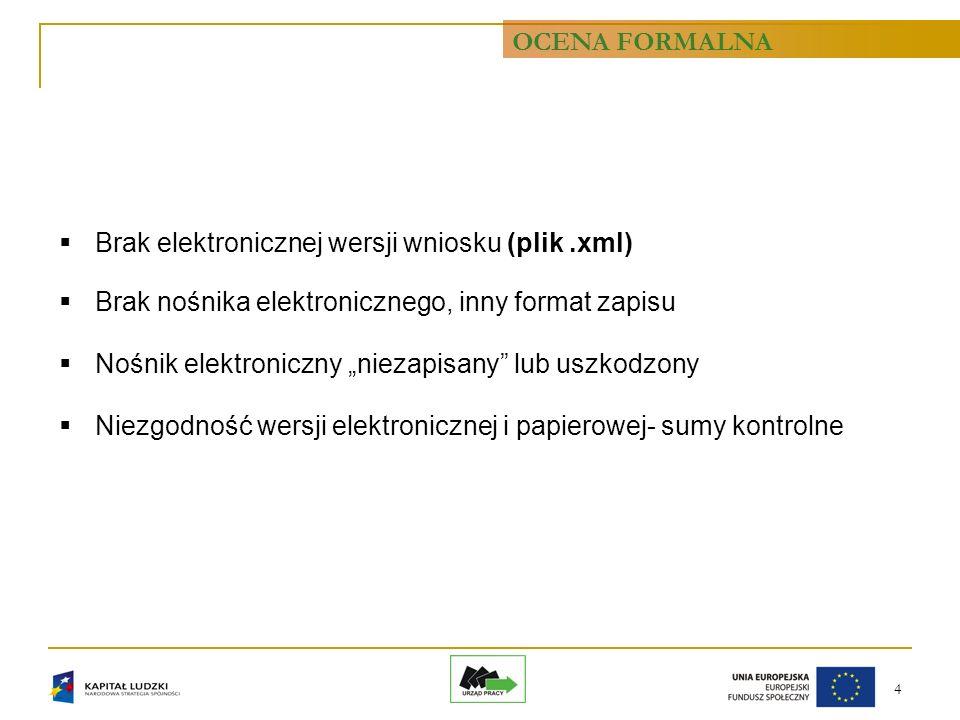4 Brak elektronicznej wersji wniosku (plik.xml) Brak nośnika elektronicznego, inny format zapisu Nośnik elektroniczny niezapisany lub uszkodzony Niezg