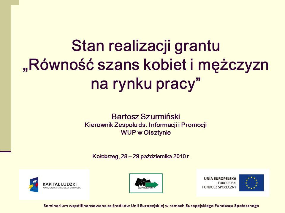 1 Stan realizacji grantu Równość szans kobiet i mężczyzn na rynku pracy Bartosz Szurmiński Kierownik Zespołu ds.
