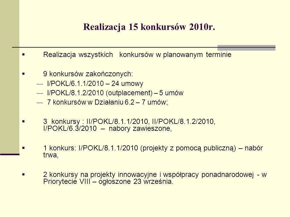Realizacja 15 konkursów 2010r. Realizacja wszystkich konkursów w planowanym terminie 9 konkursów zakończonych: I/POKL/6.1.1/2010 – 24 umowy I/POKL/8.1