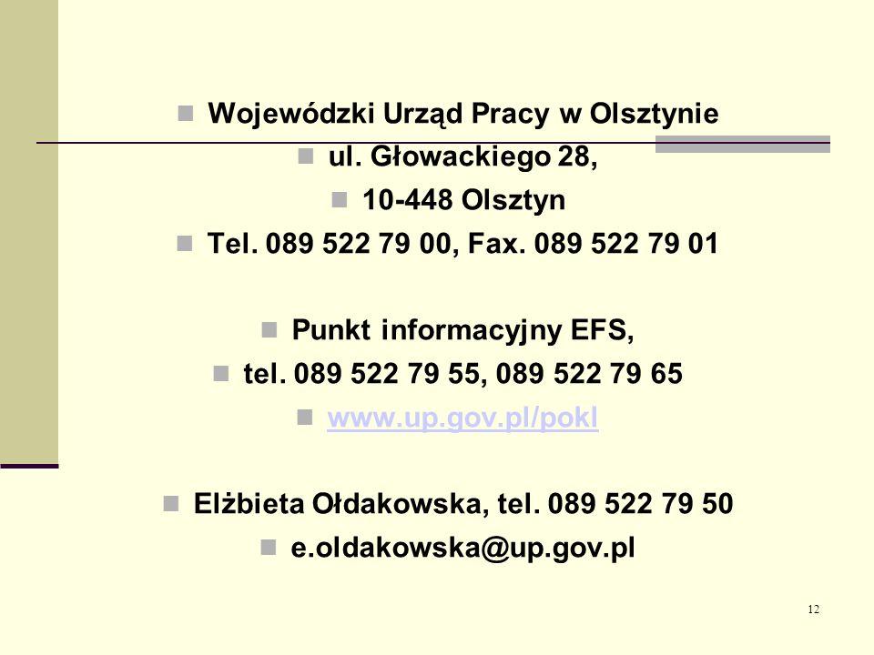 12 Wojewódzki Urząd Pracy w Olsztynie ul. Głowackiego 28, 10-448 Olsztyn Tel. 089 522 79 00, Fax. 089 522 79 01 Punkt informacyjny EFS, tel. 089 522 7