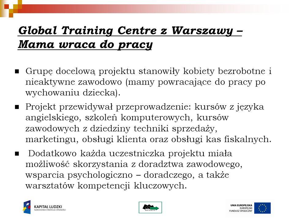 Global Training Centre z Warszawy – Mama wraca do pracy Grupę docelową projektu stanowiły kobiety bezrobotne i nieaktywne zawodowo (mamy powracające do pracy po wychowaniu dziecka).