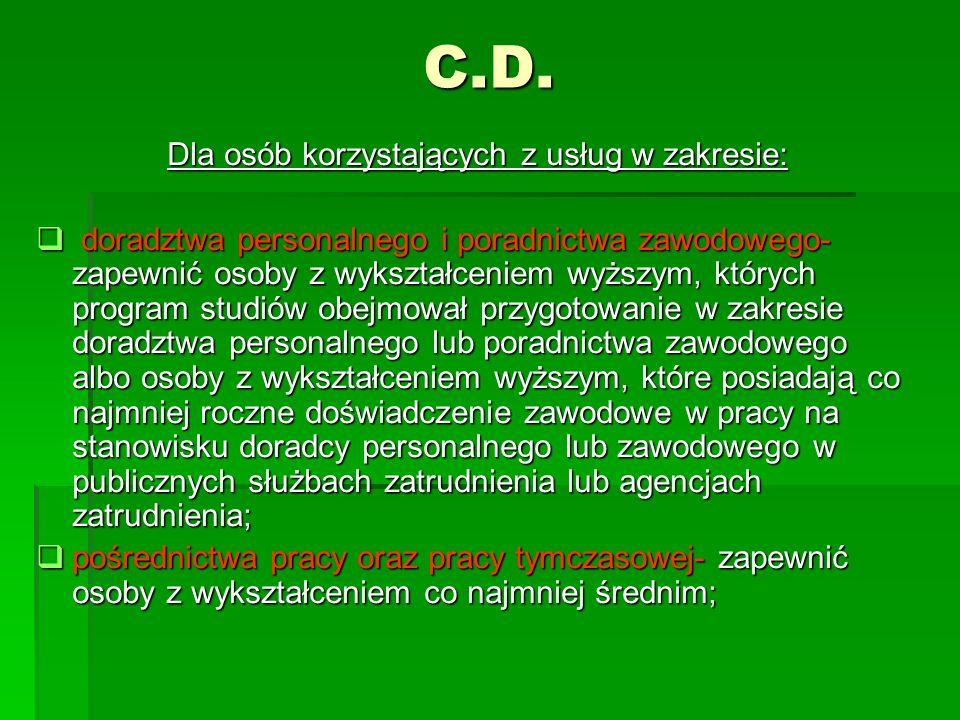 C.D. Dla osób korzystających z usług w zakresie: doradztwa personalnego i poradnictwa zawodowego- zapewnić osoby z wykształceniem wyższym, których pro