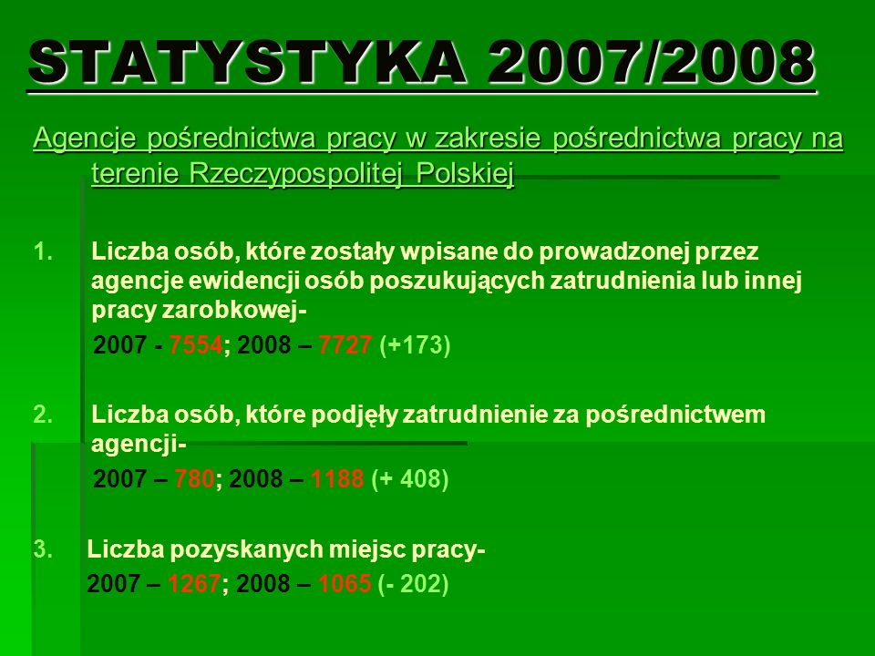 STATYSTYKA 2007/2008 Agencje pośrednictwa pracy w zakresie pośrednictwa pracy na terenie Rzeczypospolitej Polskiej 1. 1.Liczba osób, które zostały wpi