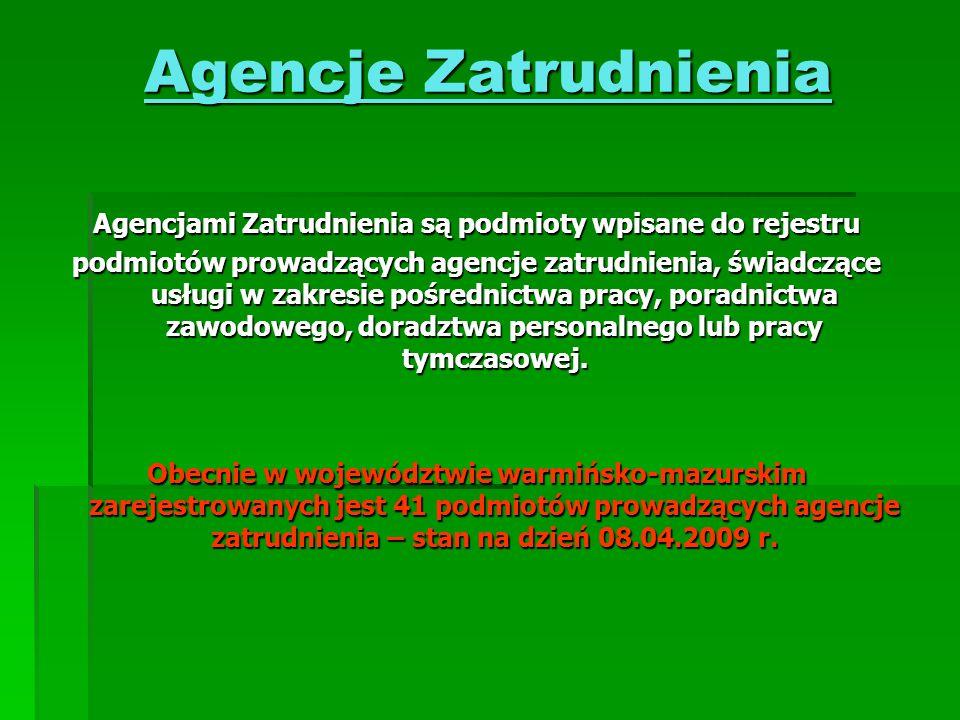 Agencje Zatrudnienia Agencjami Zatrudnienia są podmioty wpisane do rejestru podmiotów prowadzących agencje zatrudnienia, świadczące usługi w zakresie