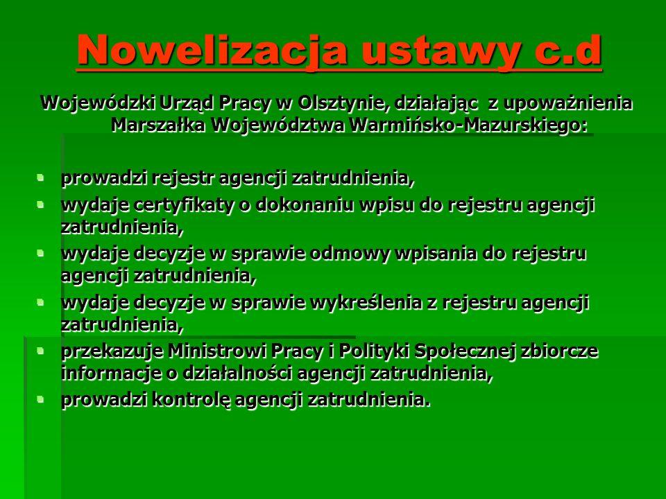 Nowelizacja ustawy c.d Wojewódzki Urząd Pracy w Olsztynie, działając z upoważnienia Marszałka Województwa Warmińsko-Mazurskiego: prowadzi rejestr agen