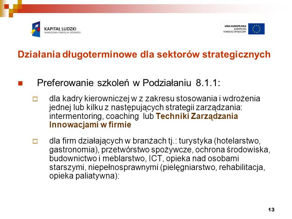 13 Działania długoterminowe dla sektorów strategicznych Preferowanie szkoleń w Podziałaniu 8.1.1: dla kadry kierowniczej w z zakresu stosowania i wdro