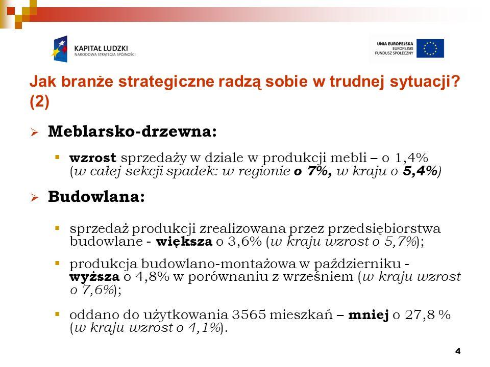 4 Jak branże strategiczne radzą sobie w trudnej sytuacji? (2) Meblarsko-drzewna: wzrost sprzedaży w dziale w produkcji mebli – o 1,4% ( w całej sekcji