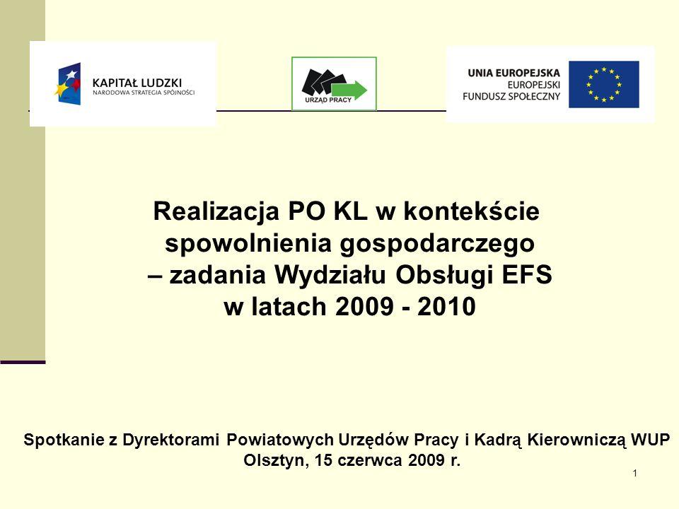 1 Realizacja PO KL w kontekście spowolnienia gospodarczego – zadania Wydziału Obsługi EFS w latach 2009 - 2010 Spotkanie z Dyrektorami Powiatowych Urzędów Pracy i Kadrą Kierowniczą WUP Olsztyn, 15 czerwca 2009 r.