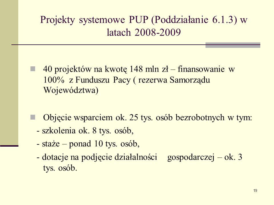 19 Projekty systemowe PUP (Poddziałanie 6.1.3) w latach 2008-2009 40 projektów na kwotę 148 mln zł – finansowanie w 100% z Funduszu Pacy ( rezerwa Samorządu Województwa) Objęcie wsparciem ok.