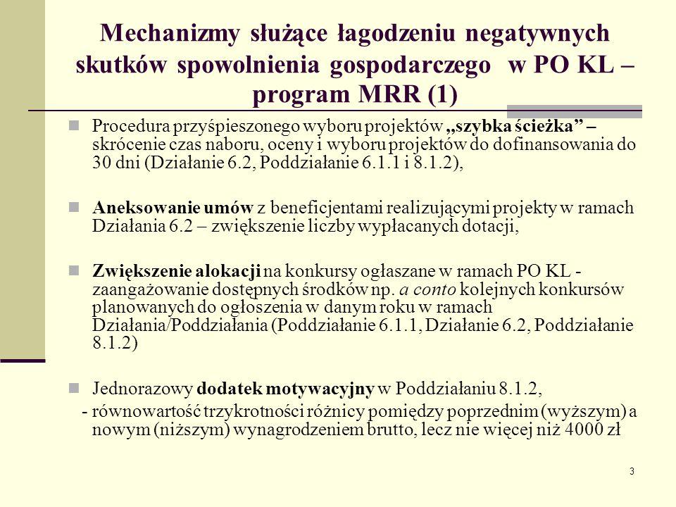 4 Mechanizmy służące łagodzeniu negatywnych skutków spowolnienia gospodarczego w PO KL – program MRR (2) Jednorazowy dodatek relokacyjny (mobilnościowy) w Poddziałaniach 6.1.1 i 8.1.2, -jednolita kwota dodatku, o równowartości sześciokrotności 100% zasiłku dla bezrobotnych (3 310.8 zł) -osoby, które utraciły pracę z przyczyn leżących po stronie zakładu pracy nie wcześniej niż 6 miesięcy przed dniem przystąpienia do projektu, - osobie, która podjęła pracę w odległości powyżej 50 km od miejsca zamieszkania, Możliwość przyznawania środków na rozpoczęcie działalności gospodarczej dla pracowników objętych programem zwolnień monitorowanych (Poddziałanie 8.1.2) – na wzór Działania 6.2,