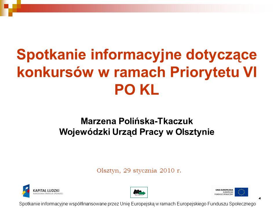 1 Olsztyn, 29 stycznia 2010 r. Spotkanie informacyjne dotyczące konkursów w ramach Priorytetu VI PO KL Marzena Polińska-Tkaczuk Wojewódzki Urząd Pracy