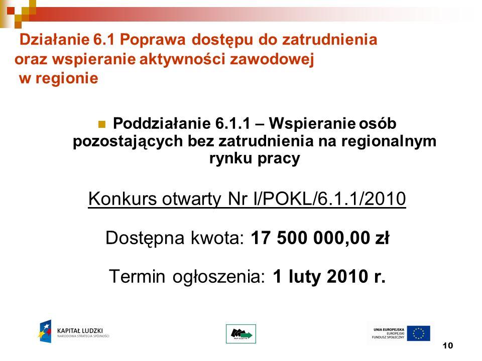 10 Działanie 6.1 Poprawa dostępu do zatrudnienia oraz wspieranie aktywności zawodowej w regionie Poddziałanie 6.1.1 – Wspieranie osób pozostających be