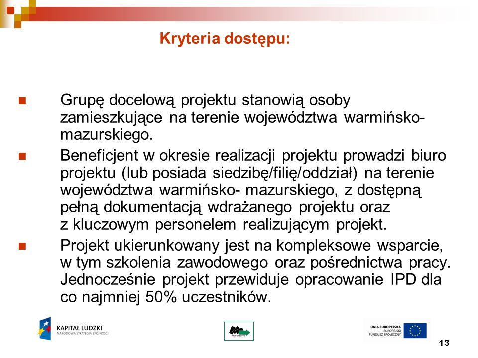 13 Kryteria dostępu: Grupę docelową projektu stanowią osoby zamieszkujące na terenie województwa warmińsko- mazurskiego. Beneficjent w okresie realiza