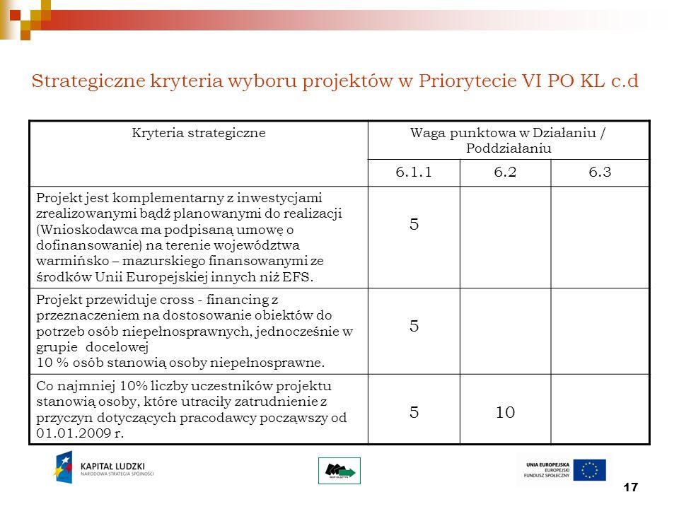 17 Strategiczne kryteria wyboru projektów w Priorytecie VI PO KL c.d Kryteria strategiczneWaga punktowa w Działaniu / Poddziałaniu 6.1.16.26.3 Projekt
