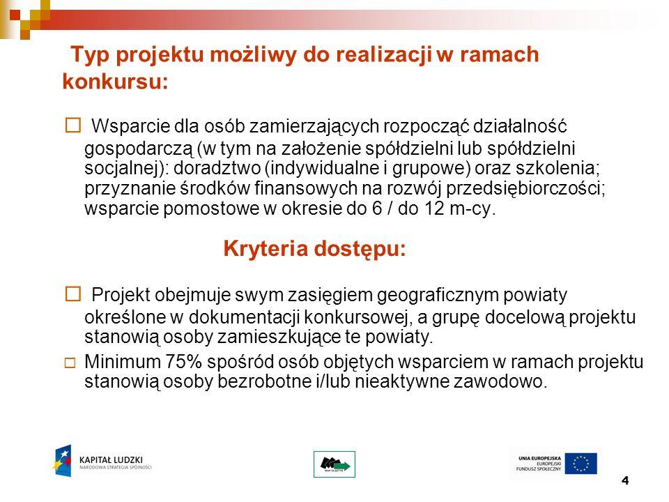 4 Typ projektu możliwy do realizacji w ramach konkursu: Wsparcie dla osób zamierzających rozpocząć działalność gospodarczą (w tym na założenie spółdzi