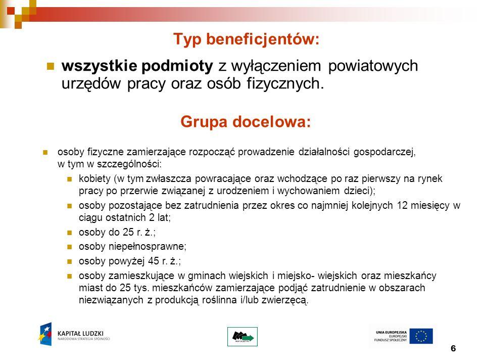 7 Działanie 6.3 Inicjatywy lokalne na rzecz podnoszenia poziomu aktywności zawodowej na obszarach wiejskich Konkurs otwarty Nr I/POKL/6.3/2010 Dostępna kwota: 1 000 000,00 zł Termin ogłoszenia: kwiecień 2010 r.