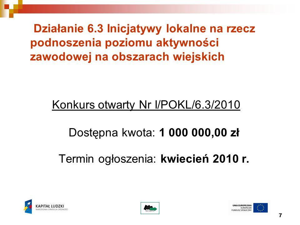 7 Działanie 6.3 Inicjatywy lokalne na rzecz podnoszenia poziomu aktywności zawodowej na obszarach wiejskich Konkurs otwarty Nr I/POKL/6.3/2010 Dostępn