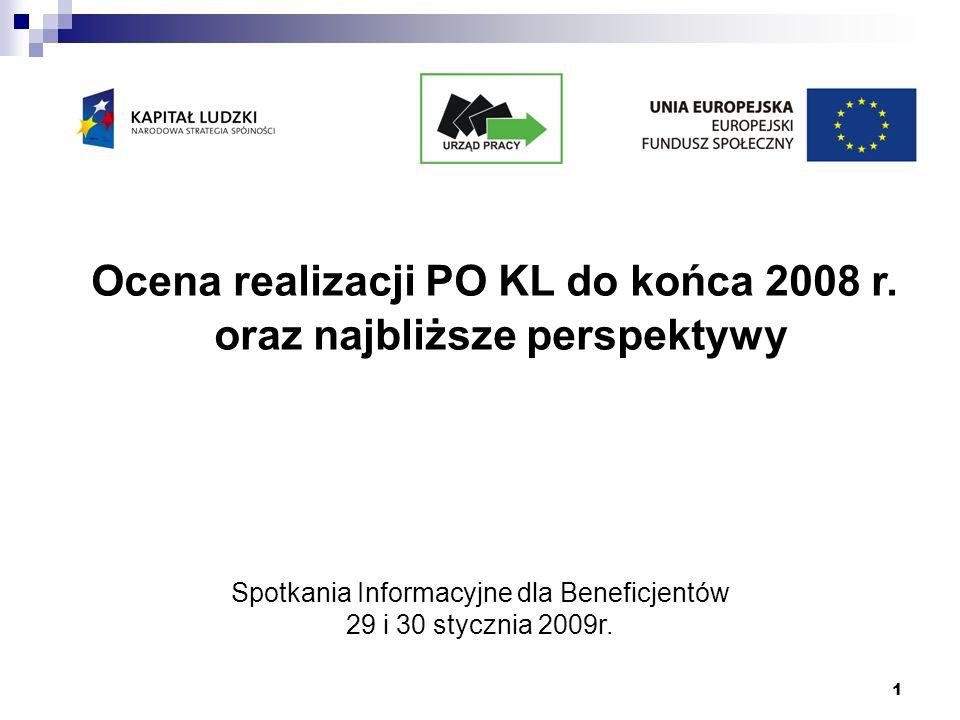 1 Ocena realizacji PO KL do końca 2008 r. oraz najbliższe perspektywy Spotkania Informacyjne dla Beneficjentów 29 i 30 stycznia 2009r.