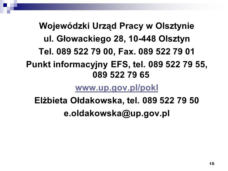 15 Wojewódzki Urząd Pracy w Olsztynie ul. Głowackiego 28, 10-448 Olsztyn Tel. 089 522 79 00, Fax. 089 522 79 01 Punkt informacyjny EFS, tel. 089 522 7