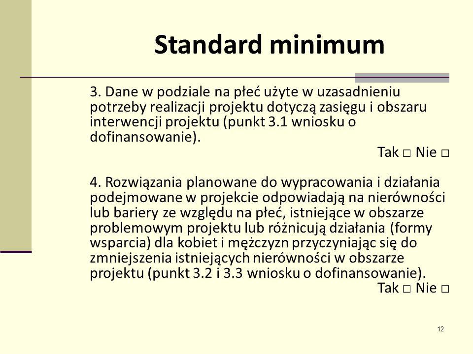 12 3. Dane w podziale na płeć użyte w uzasadnieniu potrzeby realizacji projektu dotyczą zasięgu i obszaru interwencji projektu (punkt 3.1 wniosku o do